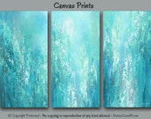 Abstract painting - Canvas art print set, LARGE wall art, Teal home decor, Teal & Gray decor, Turquoise blue master bedroom decor, Office
