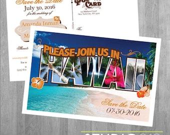 HAWAII WEDDING POSTCARDS, Save the Date, Destination Wedding, Hawaiian Wedding, Printable File, Digital File