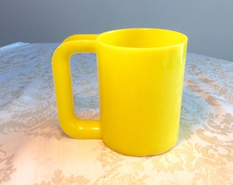 Vintage Yellow Plastic Mug with Oversized Handle Kid's Cup Camping Supplies