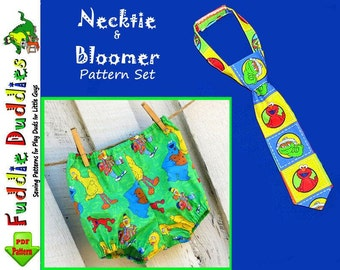 Boy's Tie Pattern and Bloomer Pattern, Diaper Cover Set.... pdf Sewing Pattern. Infant, Baby. Photo prop, INSTANT DOWNLOAD