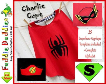 Superhero Cape Pattern, Superhero Costume Pattern, Cape Pattern, INSTANT DOWNLOAD. Boy's Sewing Pattern