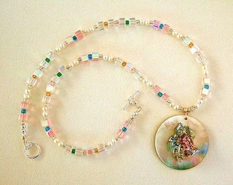 Glitz & Glam Crystal Necklace Iridescent Rainbow Colors On Fire Bismuth Jewelry Aurora Borealis Freshwater Pearls Gorgeous Gift for Her