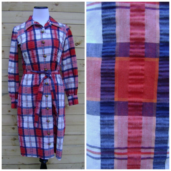 70s plaid shirt dress vintage red white blue by for Red white and blue plaid shirt