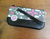 Small Wristlet Wallet Pink and Gray Mosaic Print Canvas with Black Faux Leather