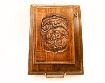Brittany French Vintage Carved Wood Memo Pad Holder (B203)