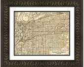 MAP of KANSAS City Missouri in a Vintage Grunge Weathered Antique style