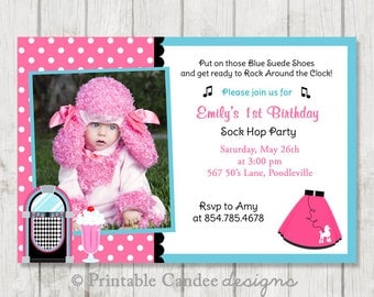 50's Poodle Skirt Sock Hop Birthday Invitation - DIY Custom Printable