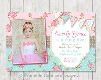 Shabby Rose Birthday Invitation - DIY Custom Printable