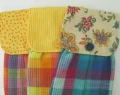 Hanging Kitchen Towel Set-  Bright Yellow Red Orange Blue Plaid Polka Dots Stripe Flowers Cotton Woven Towels Button Closure