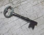 """Long Skeleton Key, Antique Key, Old Keys, Vintage Keys, Victorian, Edwardian, 1800s, Key, 3"""" Long, Cabinet Key, Props, All Vintage Man"""