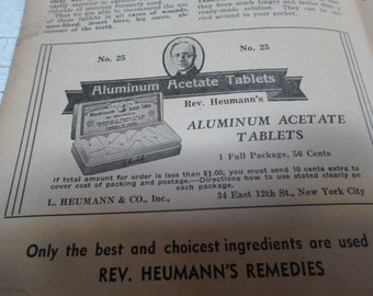 Antique Paper, Pharmacy, Apothecary, Quack Medicine, Advertising, Vintage Ephemera, Advertisement, Chemistry, Science, Medical Book, 1930s