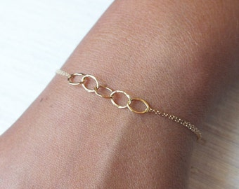 Layered Bracelet - Dainty Hammered Gold Filled or Sterling Chain Bracelet - Double Chain Bracelet