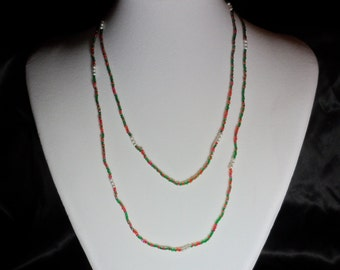 Red Green and White Seed Bead Necklace