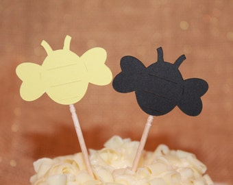 10 what will it Bee Cupcake Picks - Appetizer Picks - Party Picks - Gender Reveal - Babyshower