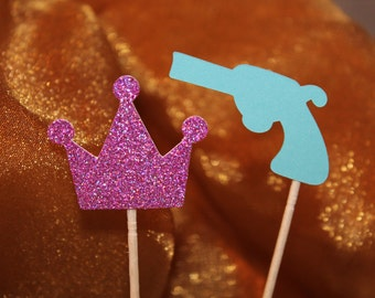 10 Guns and Glitter - Crown - Cupcake Picks - Appetizer Picks - Party Picks - Gender Reveal