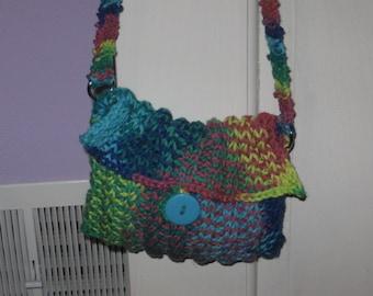 Rainbow Delight Knit Purse Pattern PDF file