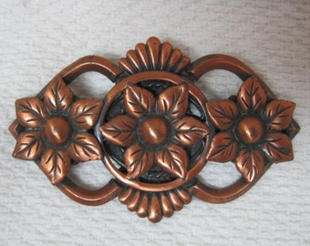 Vintage Copper Flower Pin Brooch Beautiful Details! 2 1/4 Inches DRW1