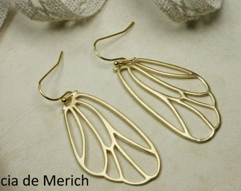 Gold Wing Earrings. Matte Gold Fairy Wings, Butterfly Wings, Cicada Wings Dangle Earrings. Wing Jewelry
