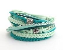 Mint Teal Summer Bracelet, Teal Mint Cream Boho Wrap Bracelet, Cool Mint Bracelet, Gypsy Women Bracelet, Bohemian Jewelry, double wrap