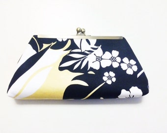 Clutch, Purse, Tropical Floral Print Salvaged, Thrifted Fabric , yellow, black. evening bag