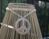 Crystal Peace Sign Necklace