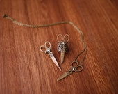 Gift Set of 3 Scissor Necklace, Ring + Bobbi Pin with matching Bobby pin gift / present / hairdresser / hair stylist