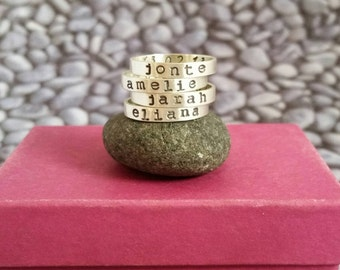 Personalized Stacking Name Ring in Sterling Silver Typewriter Font