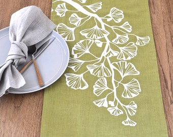 Gingko Trail Linen Table Runner -Lettuce / Off White