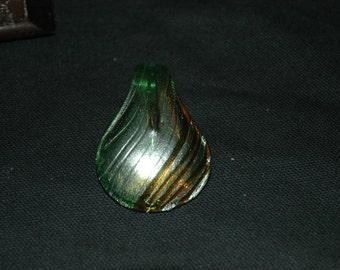 Green, Bronze and Gold Murano Glass Pendant