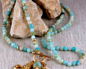 Amazonite Necklace with charms on front toggle