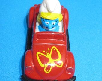 Smurfs Smurfette in a red metal car Peyo 1982 1980s 80s toys diecast die cast