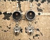 "STEAMPUNK Earrings Typewriter Keys ""Vintage Hearts""  Rare"
