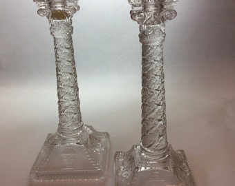 VICTORIAN GLASSED PRESSED Corinthian Column Candlesticks Circa 1870
