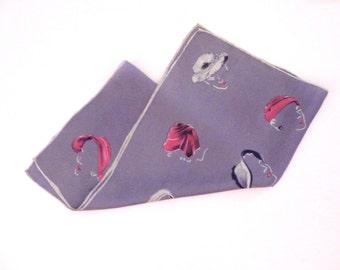 Lavender Silk Scarf Retro Midcentury Fashion Scarf
