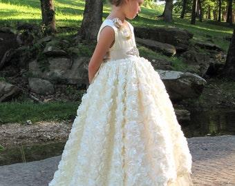 Vintage ivory rosette flower girl dress,champagne tulle flower girl dress, ivory satin rosette flower girl dress,  flower girl dress, pagent
