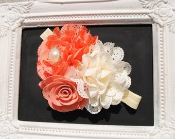 Vintage Apricot Floral Headband