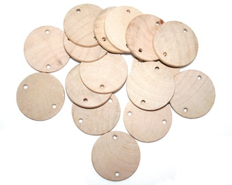"""100- Unfinished Wood Discs, Birthday Tags- 1.5"""" (3.8cm) Diameter Wood Circles With Holes,  Circle Wood Cutouts"""