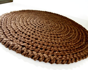 Double Thick Crocheted Cat Mat,  Area Rug or Pet Bed Round, Handmade Yarn Rag Rug in Deep Chocolate Brown