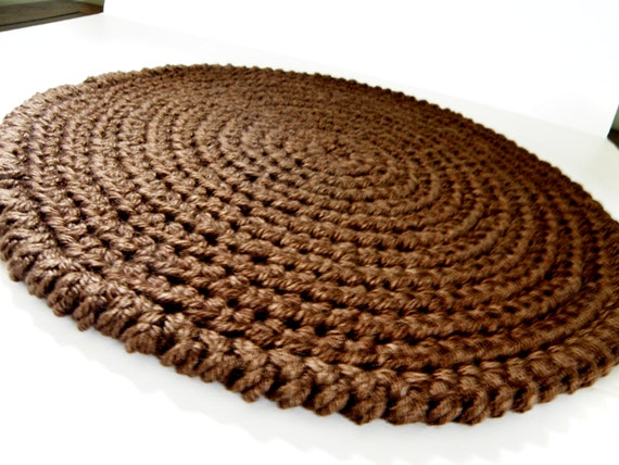 area rug or pet bed round handmade yarn rag rug in deep chocolate