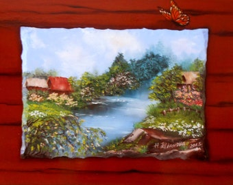 Landscape  Summer in the village Russian Оriginal painting in handmade