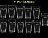 11 pint glasses wedding favors gift customized personalized