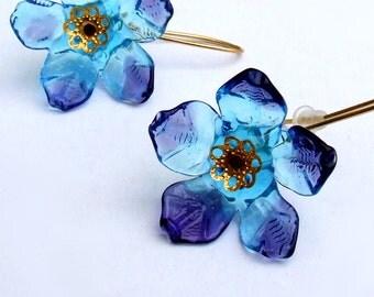 Lampwork Flower Earrings, Turquoise-Purple Flower  Earrings, Beadart Earrings, Lampwork Jewelry, Glass Bead Jewelry, Made to Order !