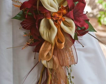 Fall Orange Red Celtic Brides Bouquet and Wedding Set 17 Piece