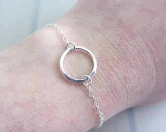 """Sterling Silver Circle Bracelet, Single Ring Bracelet, Eternity Ring Bracelet, Infinity Circle Bracelet, 1/2"""" Ring, 14mm Circle Ring"""