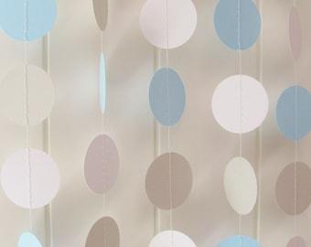 Blue White & Grey Circle Garland 10ft Long - Wedding Decoration, Birthday Decoration, Baby Shower Garland,Nursery Garland