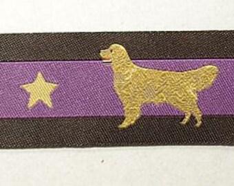 "jacquard dog ribbon Golden Retriever edition 2015 purple 7/8"""