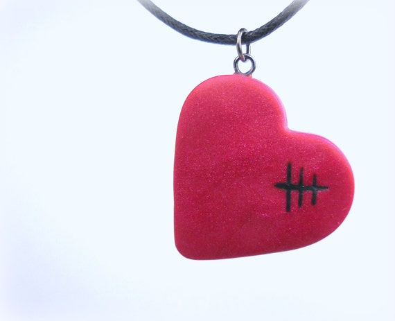 Mended Heart Necklace,  Magenta Red Handmade Polymer Clay Jewelry Pendant