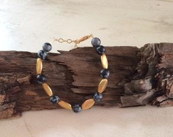 Gold, Black, Beaded, Bracelet