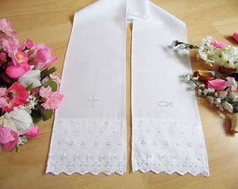 White christening/baptism stole with lace, gold or silver motif, 100% cotton