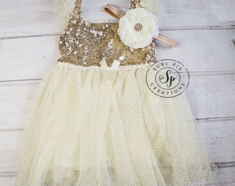Gold Glitter Flower Girl Dress..Tutu Birthday Outfit. Flower Girl Dress..Flower Girl Tutu Dress..Cream..Gold.Burlap.Rustic Lace Dress